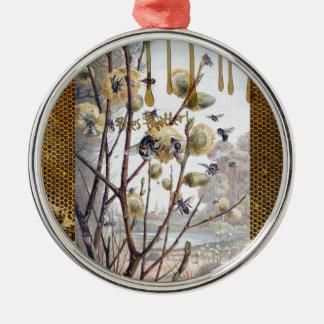 Bienen-Angelegenheit Rundes Silberfarbenes Ornament