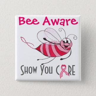 Bienen-bewusste rosa Biene - Quadratischer Button 5,1 Cm
