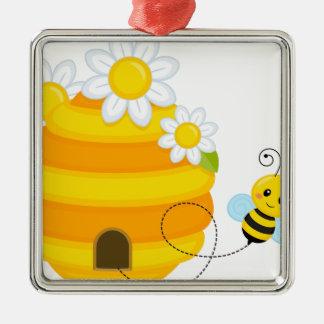 Bienen-Bienenstock Quadratisches Silberfarbenes Ornament