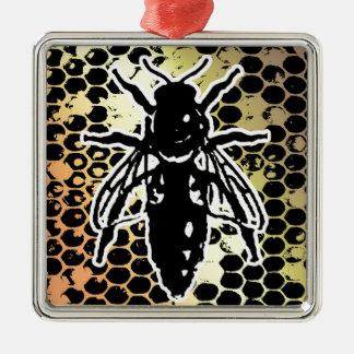 Bienen-Bienenwabe geometrisch Quadratisches Silberfarbenes Ornament