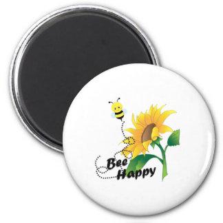 Bienen-glücklicher Magnet mit Sonnenblume