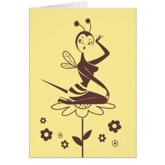 Bienen-Mädchenkarte durch Fräulein Fluff Grußkarte