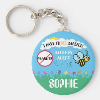Bienen-scherzt vorsichtiger Erdnuss-Allergie-Alarm Schlüsselanhänger
