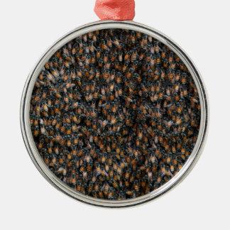 Bienen-schöner Bienenstock Rundes Silberfarbenes Ornament
