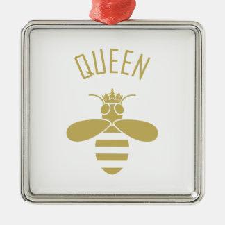 Bienenkönigin Quadratisches Silberfarbenes Ornament
