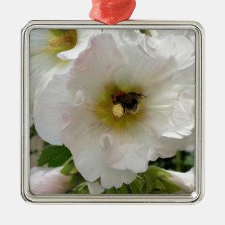Bienensammeln Quadratisches Silberfarbenes Ornament