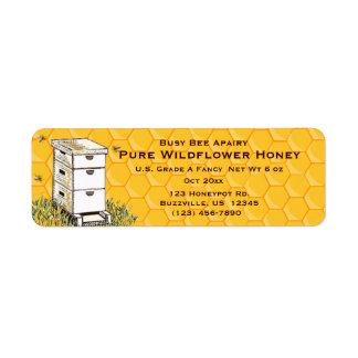 Bienenstock-und Bienenwaben-personalisierte Kleiner Adressaufkleber