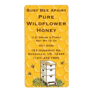 Bienenstock-und Bienenwaben-personalisiertes Versandetikett
