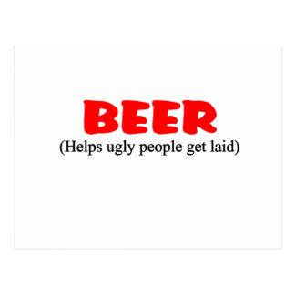 Bier hilft hässlichen Leuten Postkarte