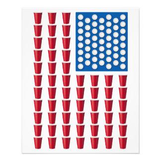 Bier Pong trinkende Spiel-amerikanische Flagge 11,4 X 14,2 Cm Flyer