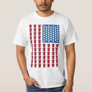 Bier Pong trinkende Spiel-amerikanische Flagge T-Shirt