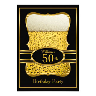 Bier-schwarze Goldgeburtstags-Party Einladung Karte