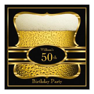 Bier-schwarze Goldgeburtstags-Party Einladung 2 Quadratische 13,3 Cm Einladungskarte
