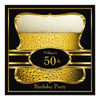 Bier-schwarze Goldgeburtstags-Party Einladung 2 Karte