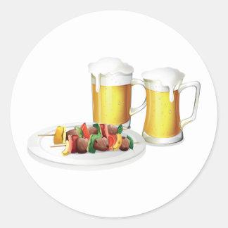 Bier-und Grill-Aufkleber Runder Aufkleber