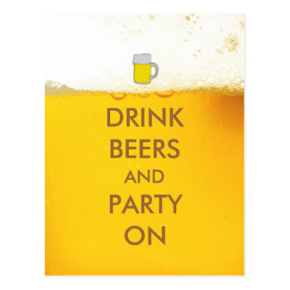 Bières et partie de boissons dessus carte postale
