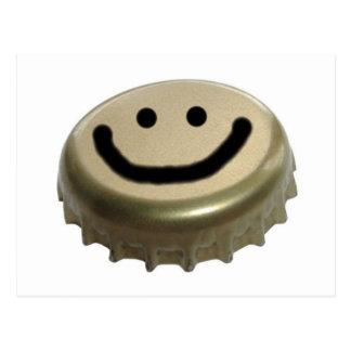 Bierflasche-Kappen-Smiley Postkarten