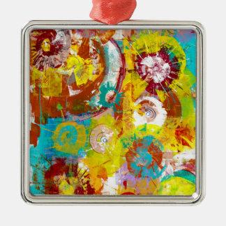 Big Bang Quadratisches Silberfarbenes Ornament