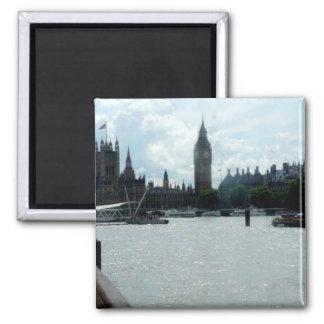 Big Ben auf der Themse London Quadratischer Magnet