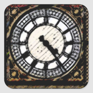 Big Ben-Ziffernblatt in den Acrylen Quadratischer Aufkleber