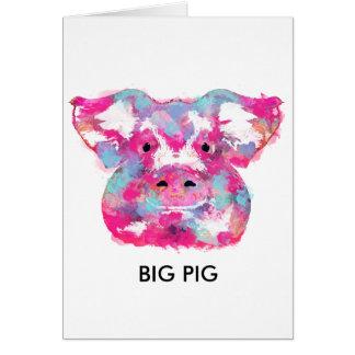 Big pink pig dirty ego grußkarte