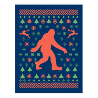 Bigfoot-Feiertags-Strickjacke-T-Shirts Postkarte
