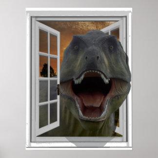 Bild-Effekt-Fake-Fenster T-Rex Dinosaurier-3D Poster