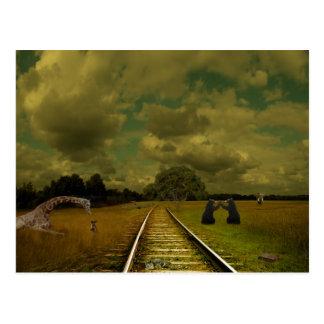 bilden Sie tracs mit Giraffen, Bären, Elefanten Postkarte