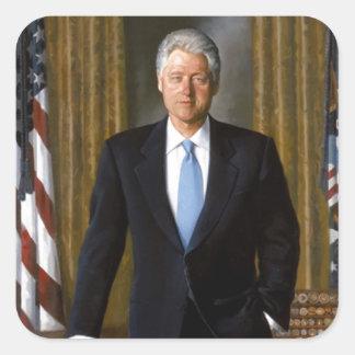 Bill Clinton offizielles das Haus-Porträt Quadratischer Aufkleber