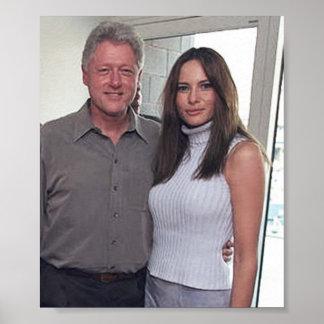 Bill Clinton u. Melania-Trumpf an den U.S. Open Poster
