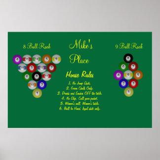 Billard-Haus-Pool-Regeln Poster