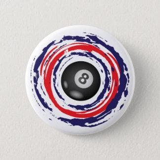 Billard-rotes Blaues und weiß Runder Button 5,7 Cm
