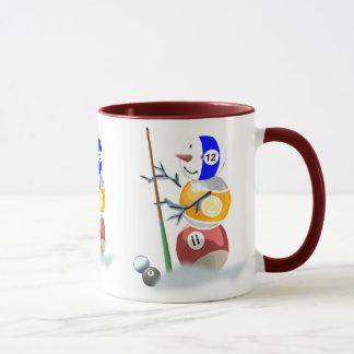 Billard-Schneemann-Weihnachten Tasse