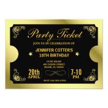 Billet d'or de partie invitation personnalisable