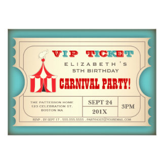 Billet vintage de fête d anniversaire de carnaval faire-part personnalisé