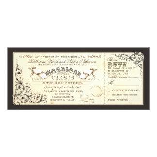 billets vintages de mariage avec des flourishes él bristols personnalisés