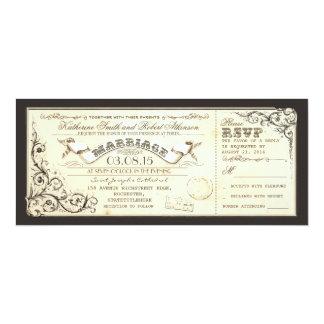 billets vintages de mariage avec des flourishes bristols personnalisés