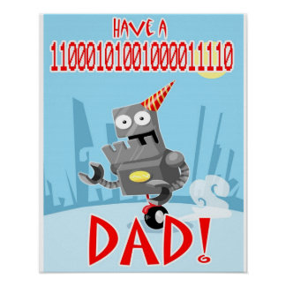 Binärer Geburtstags-Vati und Vatertagsplakat Poster