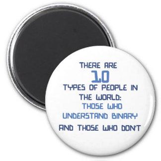 binärer Witz Runder Magnet 5,7 Cm