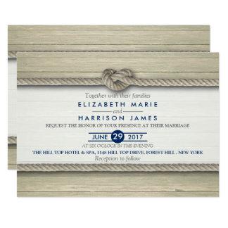 Bindung der Knoten-rustikalen Strand-Hochzeit Karte