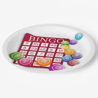 BINGO Karte mit BINGO Bällen Pappteller 22,9 Cm