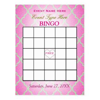Bingo-Karte   rosa Quatrefoil Postkarte