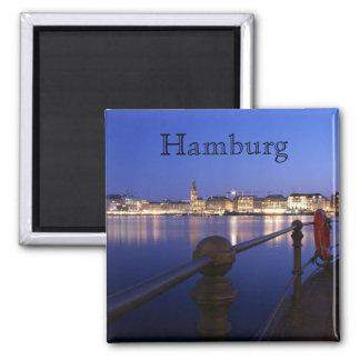 Binnenalster de Hambourg heure bleue d'aimant Magnet Carré