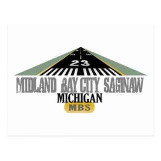 Binnenländisches Bay-City Saginaw MI - Flughafen Postkarte