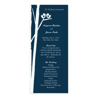Birchtree Vögel, die Programm-Blau Wedding sind 10,2 X 23,5 Cm Einladungskarte
