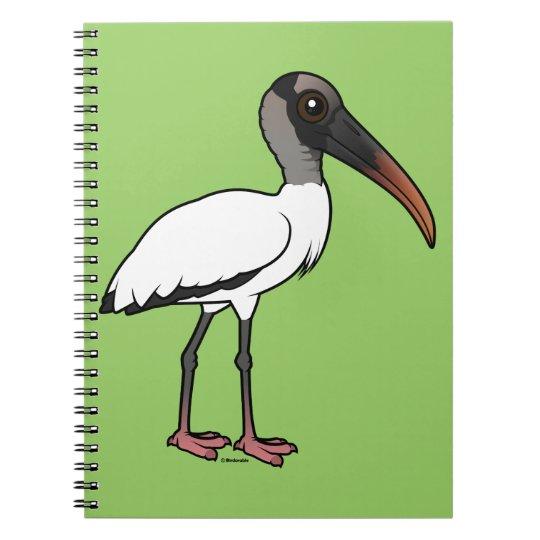 Birdorable hölzerner Storch Spiral Notizblock