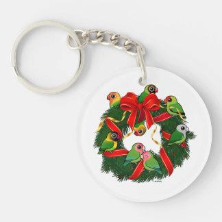 Birdorable Lovebirds-WeihnachtsKranz Schlüsselanhänger