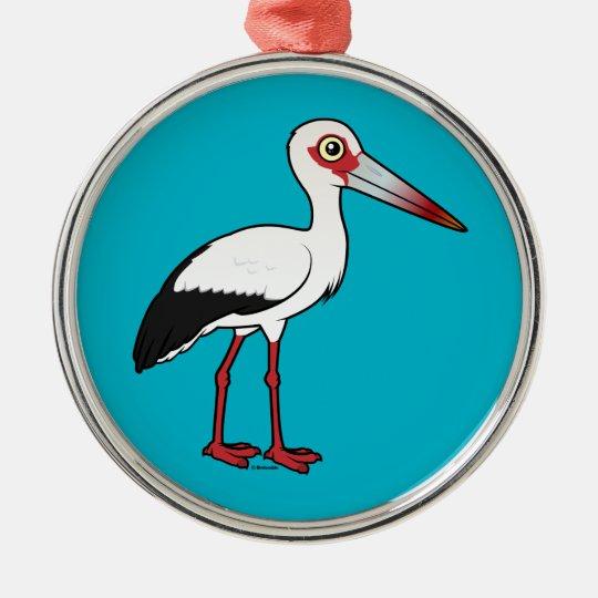 Birdorable Maguari Storch Rundes Silberfarbenes Ornament