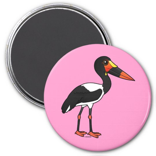 Birdorable Sattel-berechnete Storch Runder Magnet 7,6 Cm