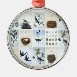 Birds and Nests Rundes Silberfarbenes Ornament